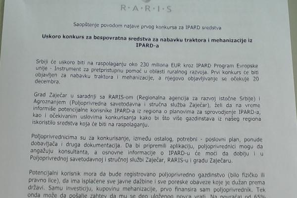 Zaječar: Kreće IPARD, prvi poziv za traktore 20. decembra