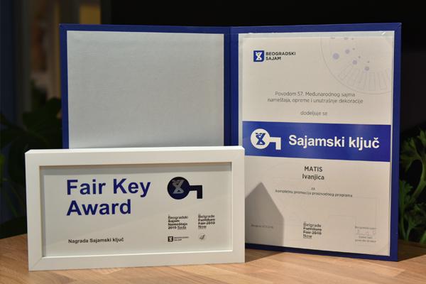 U okviru 57. Međunarodnog sajma nameštaja, opreme i unutrašnje dekoracije sajamskim ključem za kompletnu promociju proizvodnog programa nagrađena je kompanija ''Matis'' iz Ivanjice